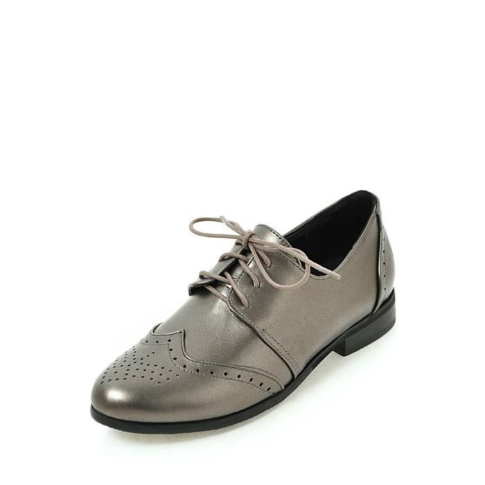 Mocassins Femmes Pompes lacent couleur unie Casual Carve déplié point Toe Shoes 9696456 Q0MNq