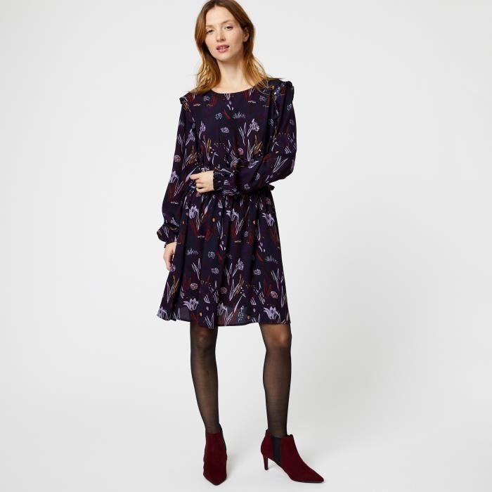 54617bd451f3 Robe manches longues imprimée Marron Brun - Achat   Vente robe ...