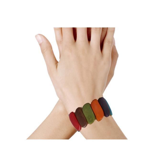 Bijoux Les Poulettes - Bracelet Elastique Tagua Multicolore Eté