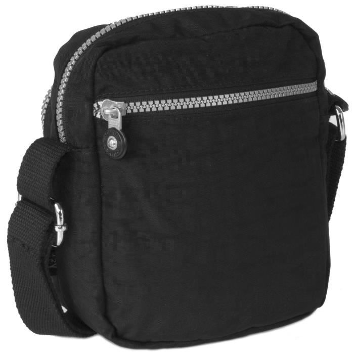 Rainproof Fabric Mini Multi Zip Pockets Messenger Shoulder Bag V5PL9