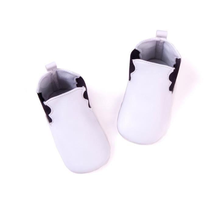 2017 Nouveau Automne et hiver Chaussures de bébé PU Bande élastique Bottes bébé-Blanc SaFqn