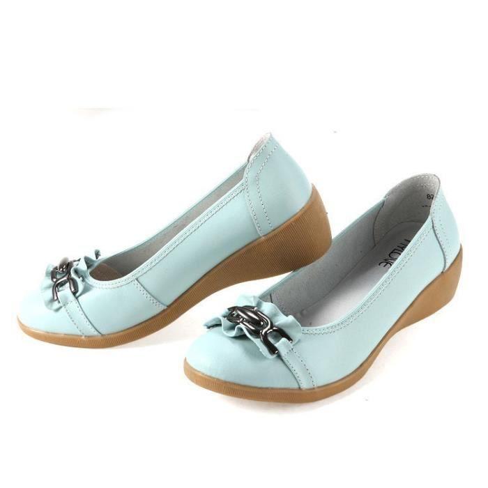 Loisirs Chaussons en cuir véritable femme Compensées Chaussures Slip-on Chaussures d'été à bout rond femme Chaussures fFe7w