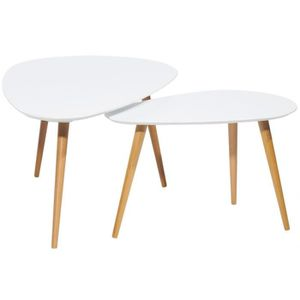 table basse blanche pied bois - achat / vente table basse blanche