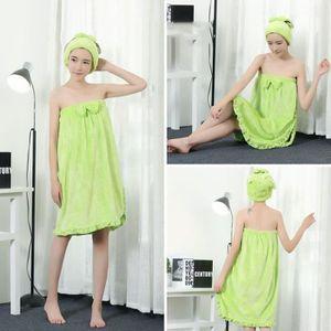 PEIGNOIR peignoir de bain femme Séchage Serviettes Vert