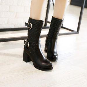 Martin Bottes à glissière latérale classique Comfy populaire épais Chaussures femmes talon 10067212 a1vQpEHo