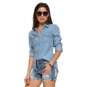 cf78a414804fa CHEMISE - CHEMISETTE Chemise femmes jeans Casual manches longues ...