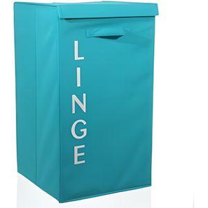 PANIER A LINGE Paris Prix - Panier à Linge Ecriture Turquoise
