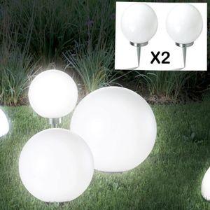 BALISE - BORNE SOLAIRE  Lampe boule 30 cm led solaire X2