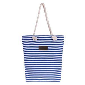 Sac de plage en toile avec bandoulière - Bleu Carlo Milano vCR2D