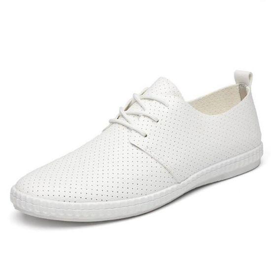 Chuassures Hommes Cuir Printemps Ete Classique Occasionnels Chaussures LLT-XZ084Blanc39 Blanc Blanc - Achat / Vente basket