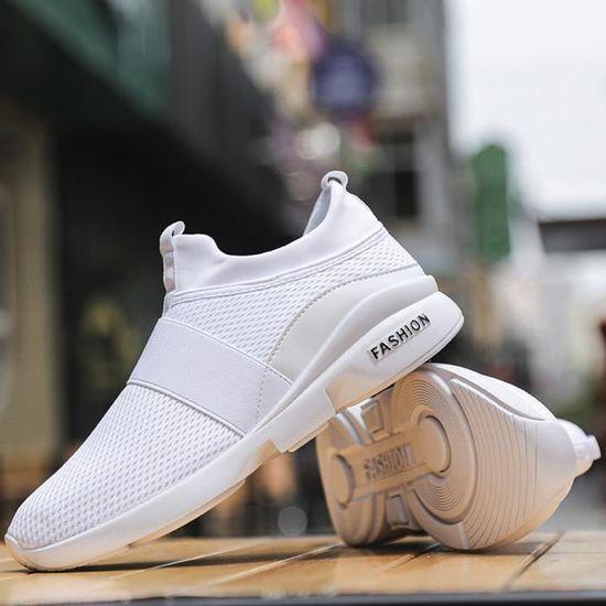 Chaussures de sport Mode pour hommes Beathable Mesh Chaussures Slip-on Chaussures Casual sauvages blanc Blanc Blanc - Achat / Vente slip-on