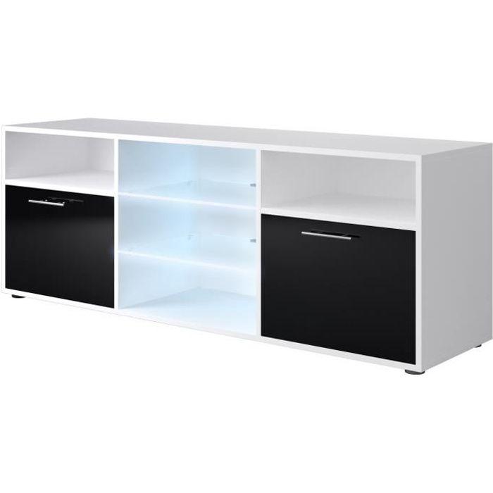 Panneaux de particules blanc et noir brillant - L 150 x P 38 x H 53 cm - 2 portes + 2 niches - LED inclusMEUBLE TV - MEUBLE HI-FI