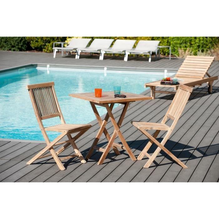 Table de jardin en bois teck carrée pliante 70 x 70 cm - Achat ...