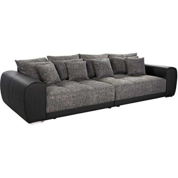 grand canap droit 39 byouty 39 noir noir 4 places achat vente canap sofa divan black. Black Bedroom Furniture Sets. Home Design Ideas