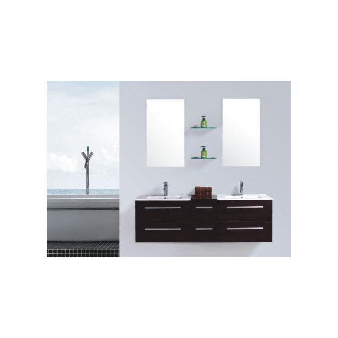 Meuble de salle de bain Venus 2 vasques + 2 miroirs - Wengé ...