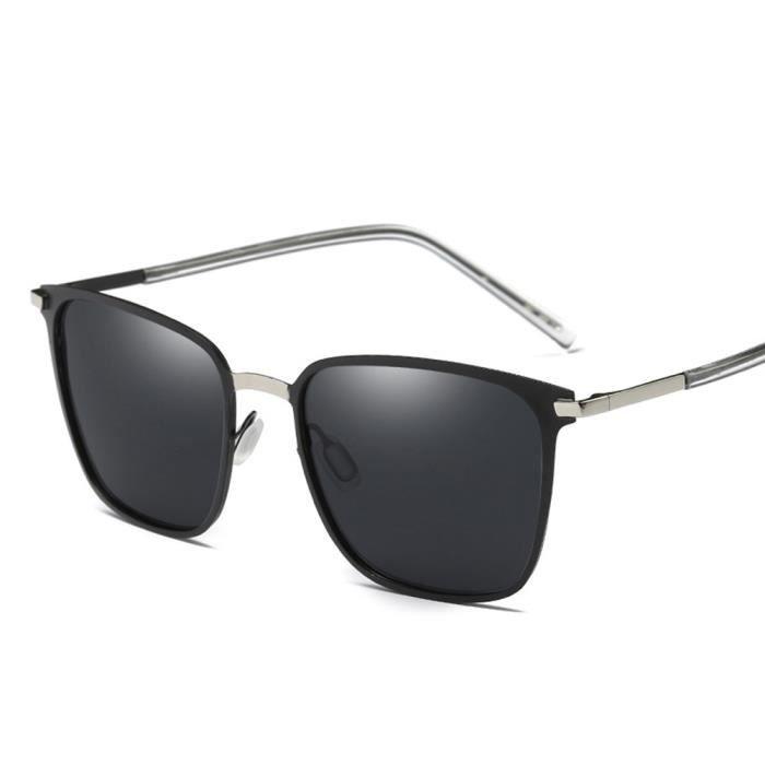 Lunettes de soleil mixte homme et femme polarisées Grande Cadre Rétro sunglassesMétal Cadre Argent/Noir
