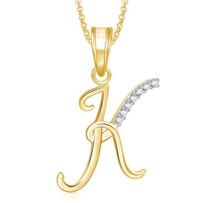 Cadeaux Saint Valentin Lettre « k » plaqué or Pendentif femme Médaillon Alphabet coeur avec la chaîne pour moi ... MYKAZ