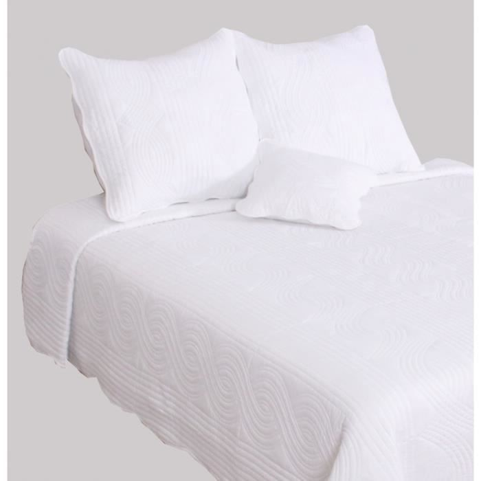 Couvre lit boutis Blanc \'piquage vagues\'