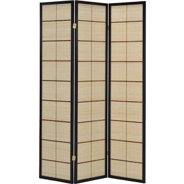 paravent intrieur 3 panneaux en bambou avec structure coloris noir