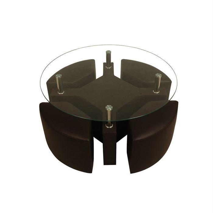 table basse design marron 4 poufs rena achat vente table basse table basse 4 poufs rena. Black Bedroom Furniture Sets. Home Design Ideas