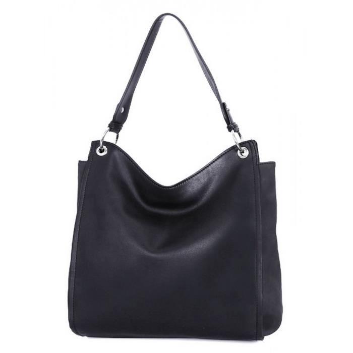 db12a6262aa CRAZYCHIC - Sac à Main Porté Epaule Femme - Hobo Fourre-Tout Seau Cuir  Souple Taille Moyenne - Sac Shopping Cabas Mode - Noir