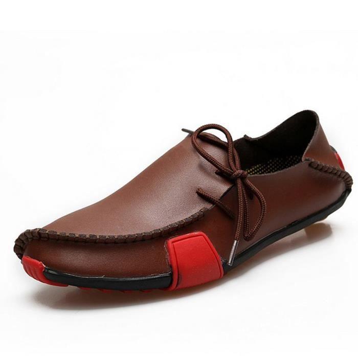 Chaussures en cuir Slip-on femme Flats Confort Chaussures Femme Printemps Eté Mocassins Chaussures plates,bleu,38,2802_2802