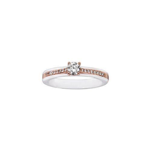 Bague plaqué or rose anneau céramique blanche rail