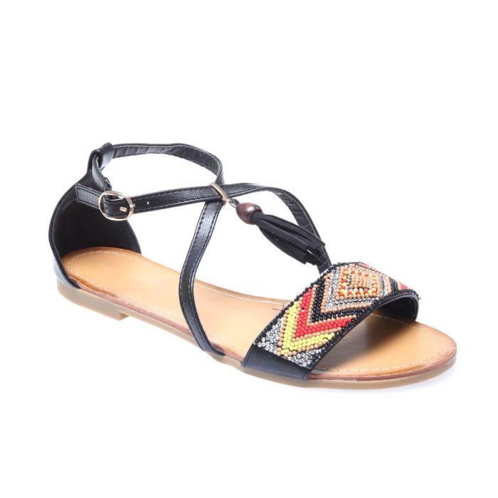 55954a8b98f2b5 La Modeuse - Sandales plates femme en simili cuir Noir Noir - Achat ...