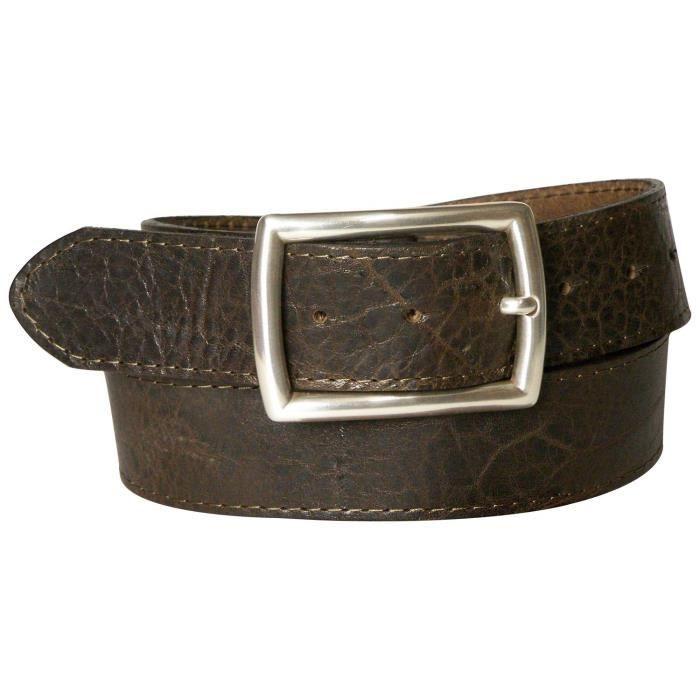 Ceinture à coutures apparentes de 4 cm en cuir véritable, tannage végétal,  ceinture pour homme et femme, boucle de f7f83488837