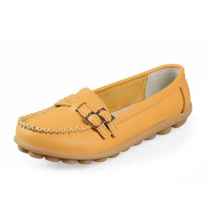 Mocassin Femmes Cuir Talon plat Classique Chaussure BLKG-XZ046Rose41 B3SnDUuB