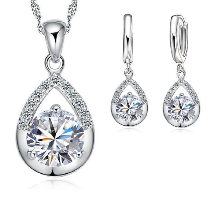 Parure goutte boucles doreilles anneaux oxyde de zirconium et cristaux swarovski elements Argent 925