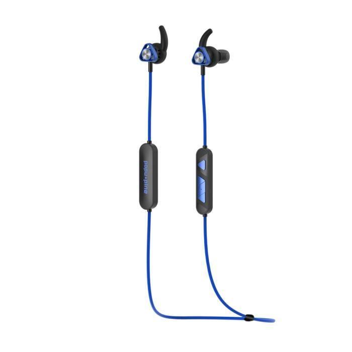 Popu Pin V2 Bt Sport Écouteurs Hifi Son Sans Fil Casque Résistance À La Sueur Magnétique Conception 4.2 110 Mah Bleu