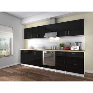 Meuble cuisine laque noir achat vente pas cher for Meuble cuisine noir laque