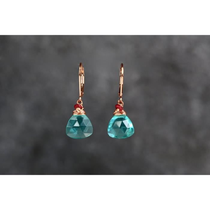 Womens Blue Green Hydroquartz Earrings With Real Ruby Rose Gold Filled-1.3 Length MTZXS