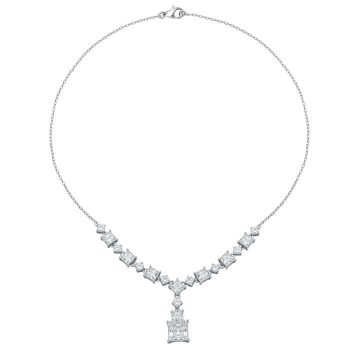Jewel Panda Rhodium plaqué argent sterling carré blanc cubique Collier zircon, 18