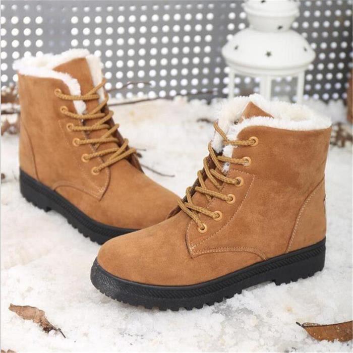 Bottine Femme hiver Classique peluche boots BBJ-XZ003Jaune-35 8DYUQQK5nv