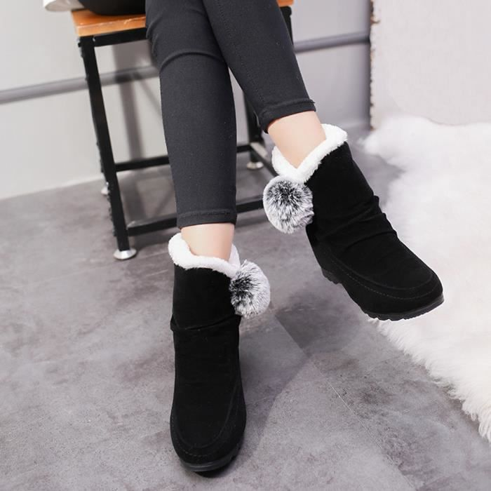 Chaud Femmes Suede Neige yini1940 Compensées Keep Round Toe De Bottes Hairball Slip on Shoes q7drPqO