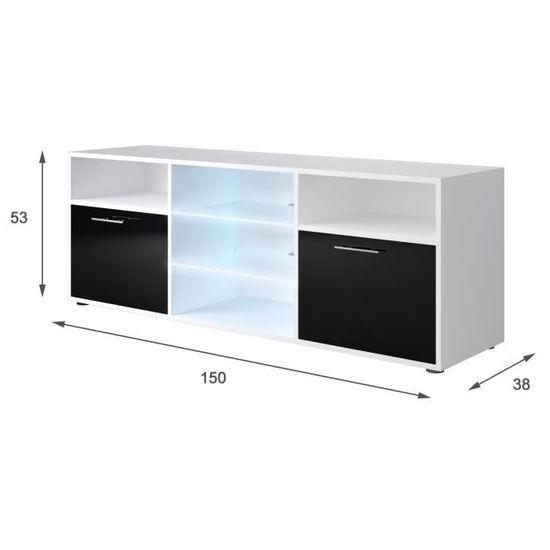 Kora Meuble Tv Contemporain Blanc Et Noir Brillant L 150 Cm