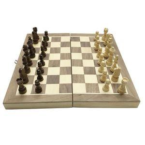 TABLE MULTI-JEUX Jeu d'échecs magnétique en bois pliable avec stock