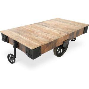 table basse roulante grange covintage industrial bois bois naturel achat vente table basse. Black Bedroom Furniture Sets. Home Design Ideas