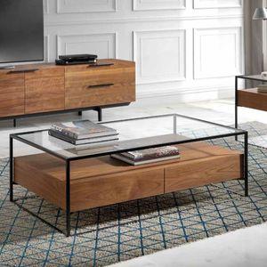 TABLE BASSE Table basse contemporaine verre et couleur noyer A