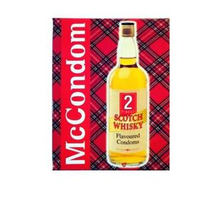 WHISKY BOURBON SCOTCH McCONDOM PACK OF 2 WHISKY FLAVOURED SCOTTISH CONDO