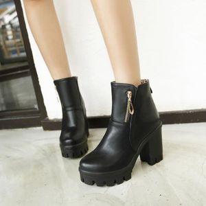 martin boots-Pure Color Haut Talonpais de femmes avec Side Zippers Buckle Bottes longues wllHCmK1B