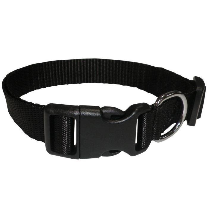 Souple et doux - Taille : L - Tour de cou : 40 - 58cm - Largeur collier : 25mm - Coloris : noir - Pour chien.COLLIER