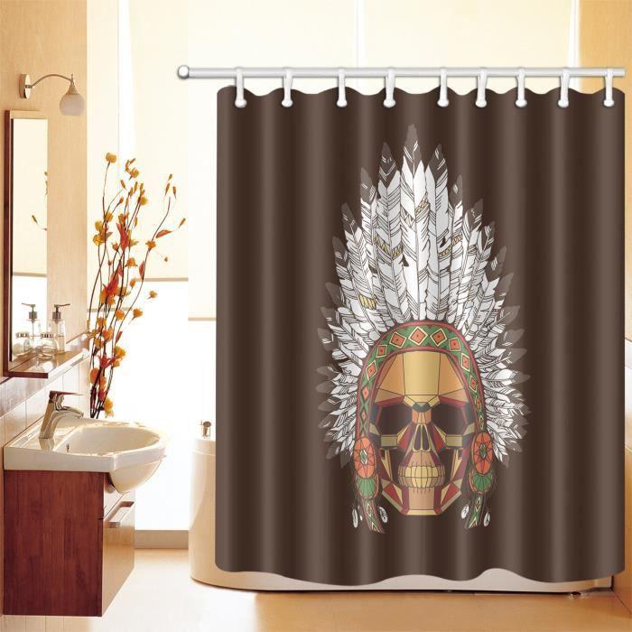 3D 180x180cm Rideau de douche Polyester avec 12 crochets Chefs indiens Bain  Rideau Décoration De Salle De Bain Anti-moisissure