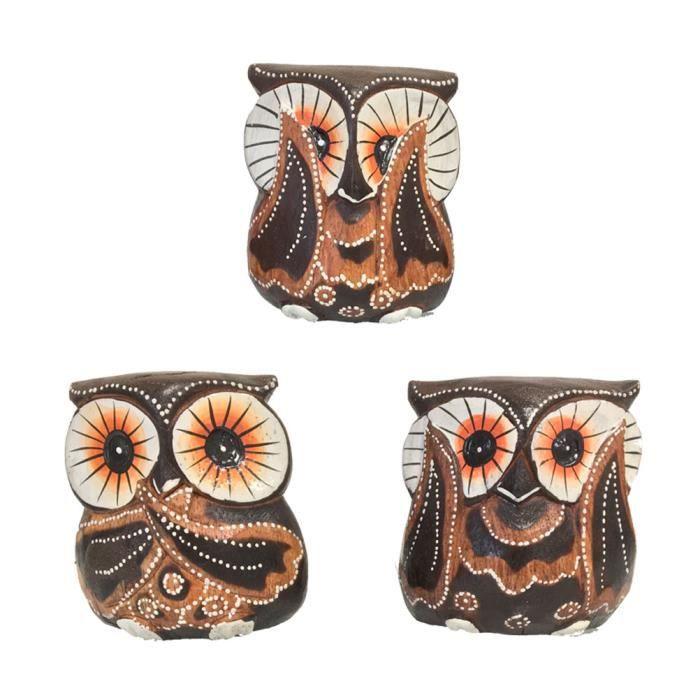 Idee Cadeau Hibou.Set De 3 Chouettes Hibou En Bois Sculpte Et Peint Collection