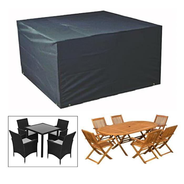 NOIR - Housse de Protection pour table Bâche Housse Salon de Jardin ...