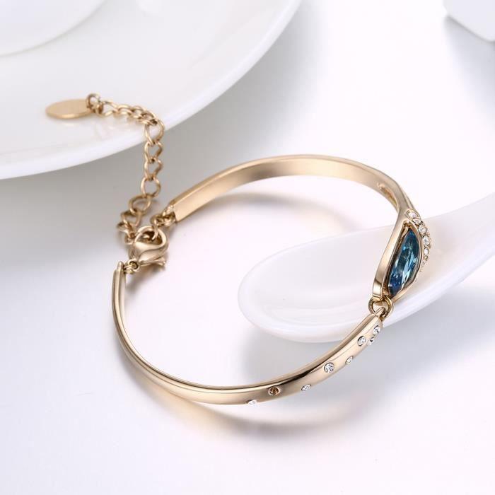 bleu zircon Or rose 18 carrés tendance classique tempérament bracelet
