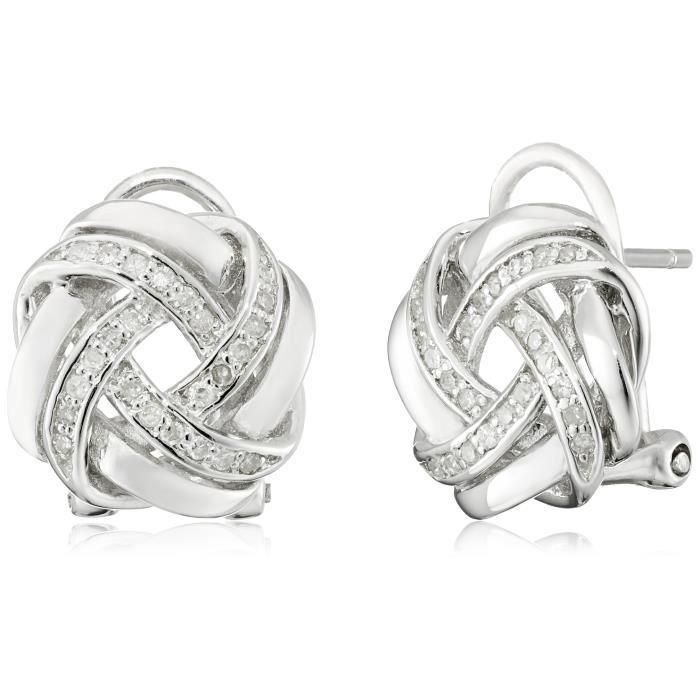 Jewel Panda Ster. Argent Amour Knot Avec Omega Retour Boucles doreilles (1/5 cttw, I2-I3)