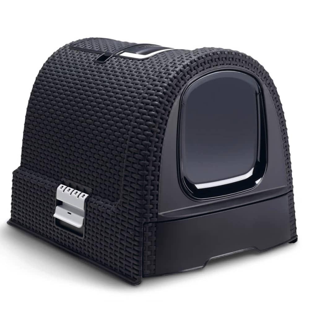 curver maison de toilettes pour chat anthracite achat. Black Bedroom Furniture Sets. Home Design Ideas